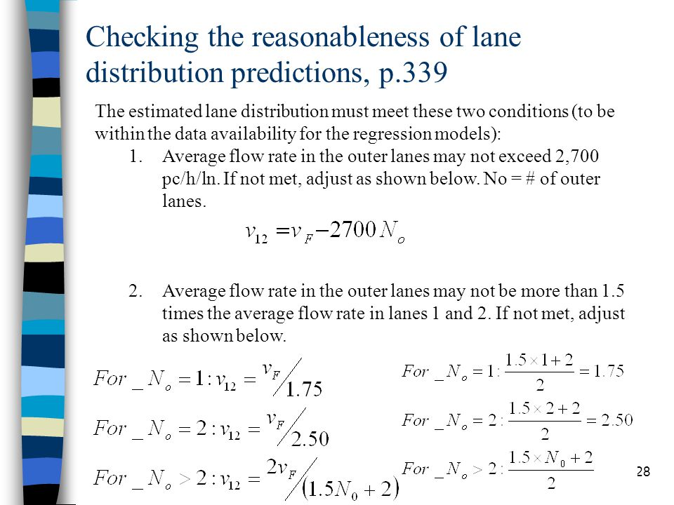 Checking the reasonableness of lane distribution predictions, p.339