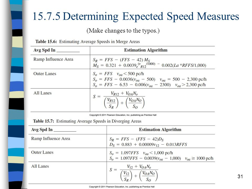 15.7.5 Determining Expected Speed Measures