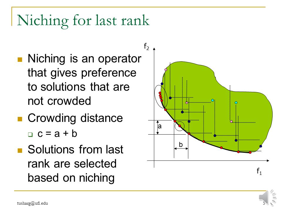 Niching for last rank f2. f1. Niching is an operator that gives preference to solutions that are not crowded.