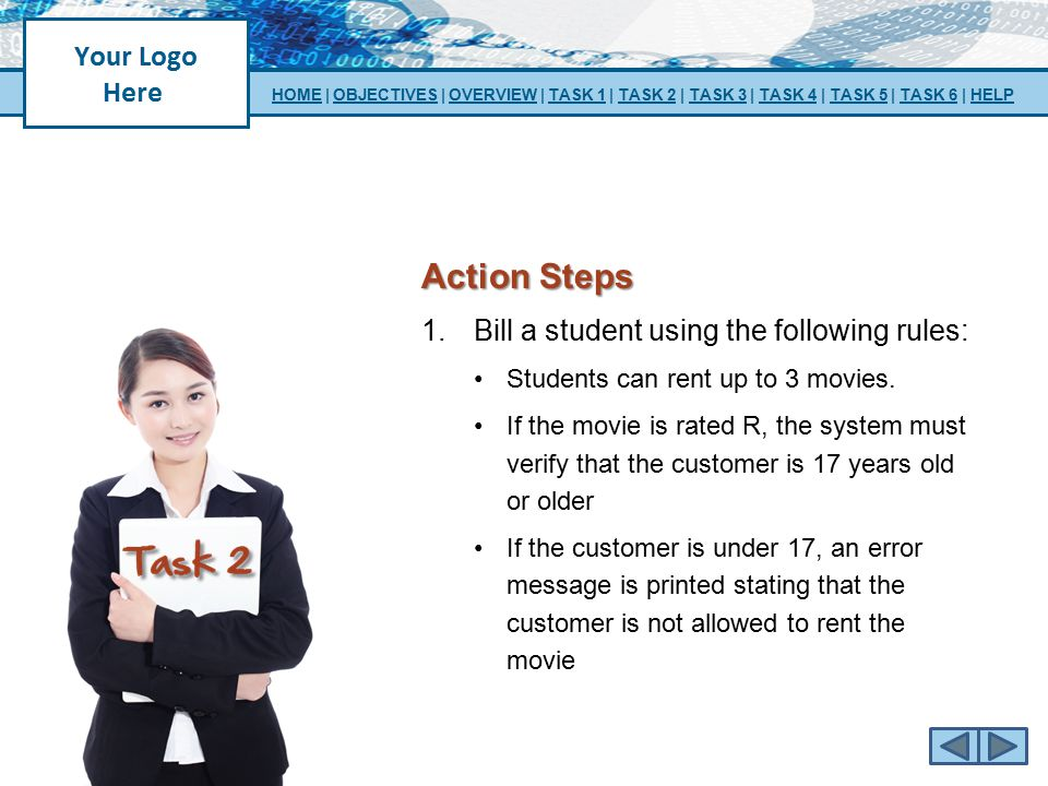 Action Steps Bill a student using the following rules:
