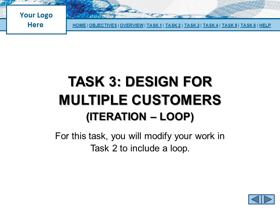 TASK 3: design for multiple customers (iteration – loop)