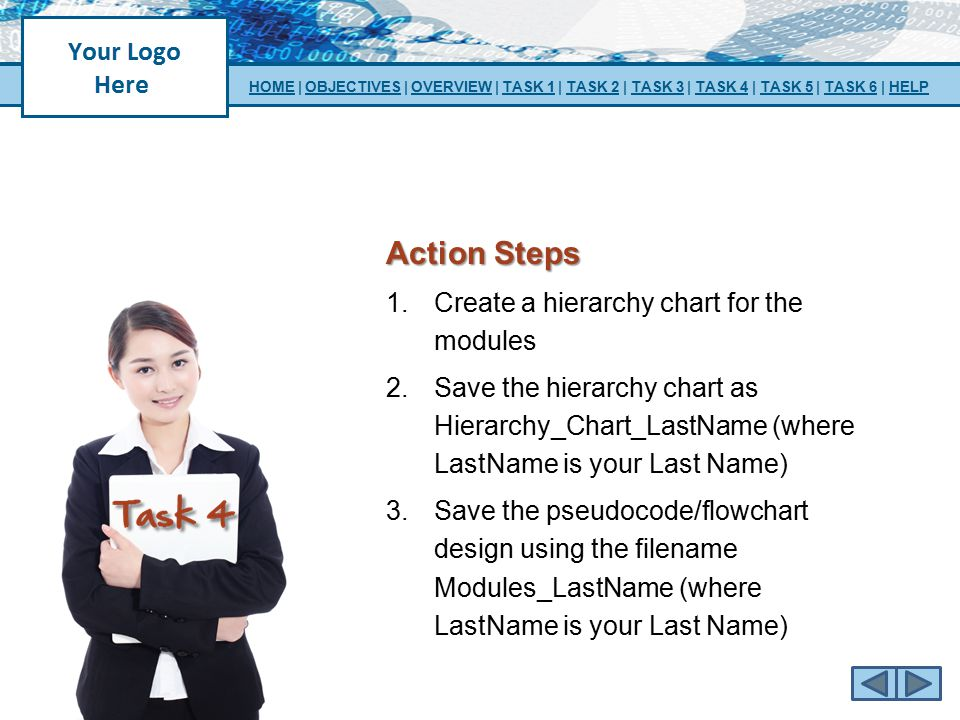 Action Steps Create a hierarchy chart for the modules