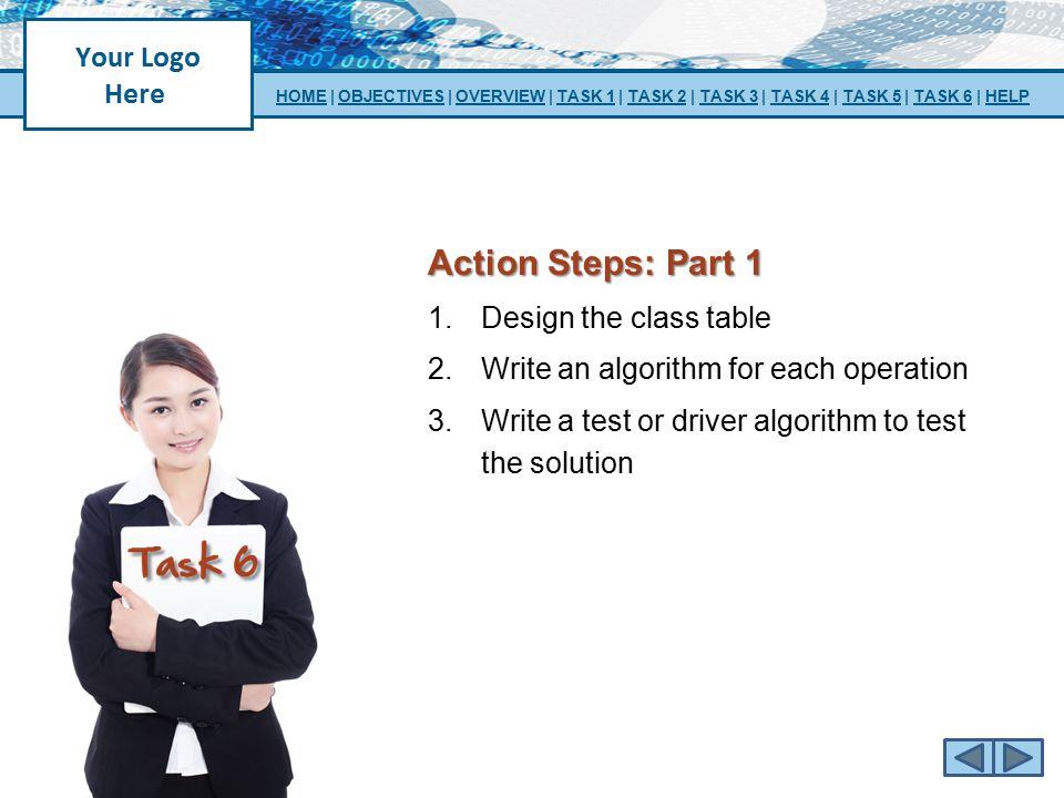 Action Steps: Part 1 Design the class table