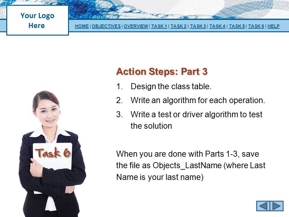 Action Steps: Part 3 Design the class table.