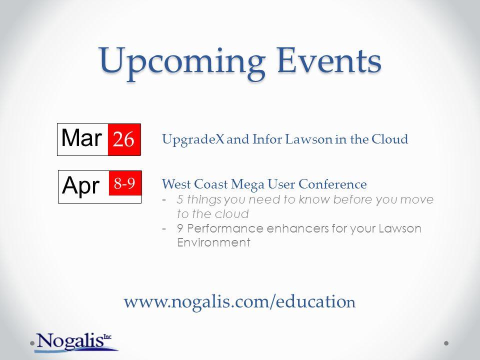 Upcoming Events Mar Apr 26 www.nogalis.com/education 8-9