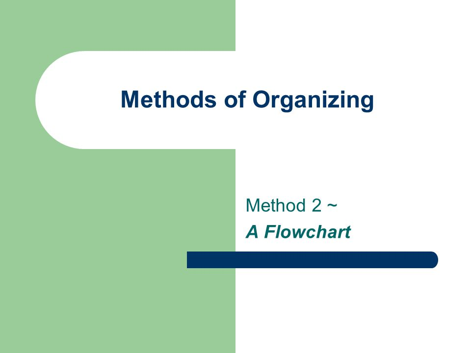 Methods of Organizing Method 2 ~ A Flowchart
