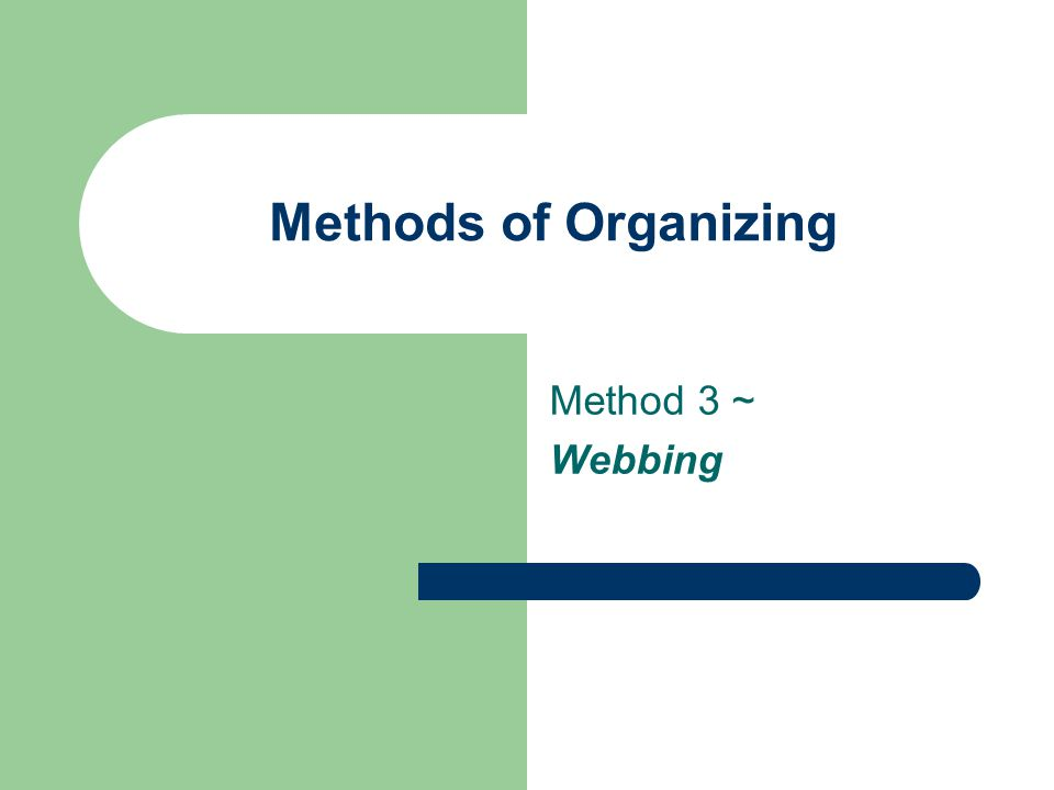 Methods of Organizing Method 3 ~ Webbing