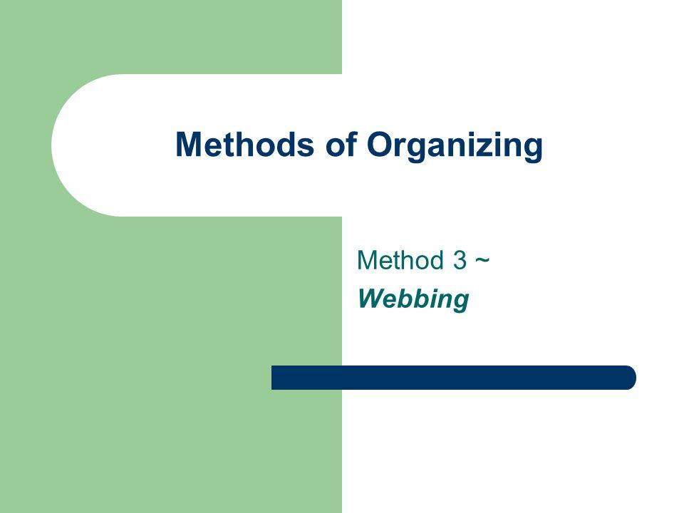 Methods of Organizing Method 3 ~ Webbing