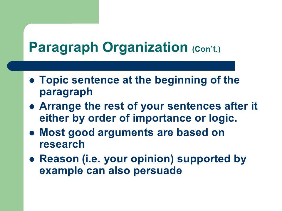 Paragraph Organization (Con't.)