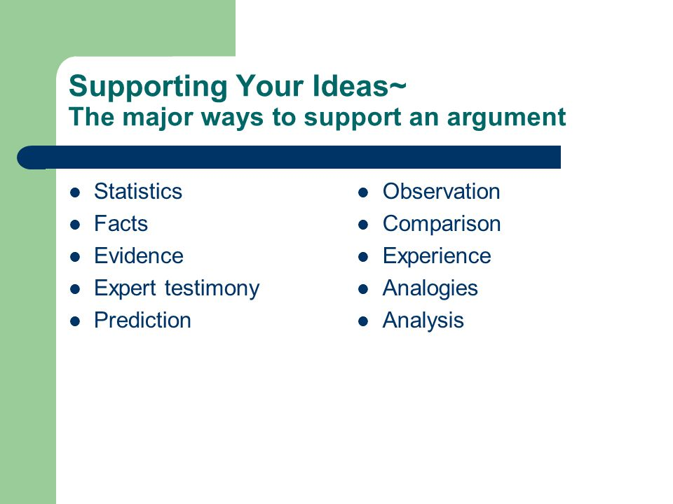 Supporting Your Ideas~ The major ways to support an argument