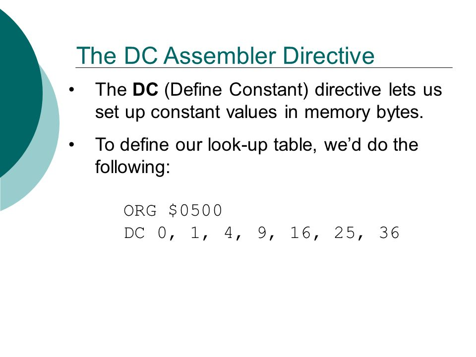 The DC Assembler Directive