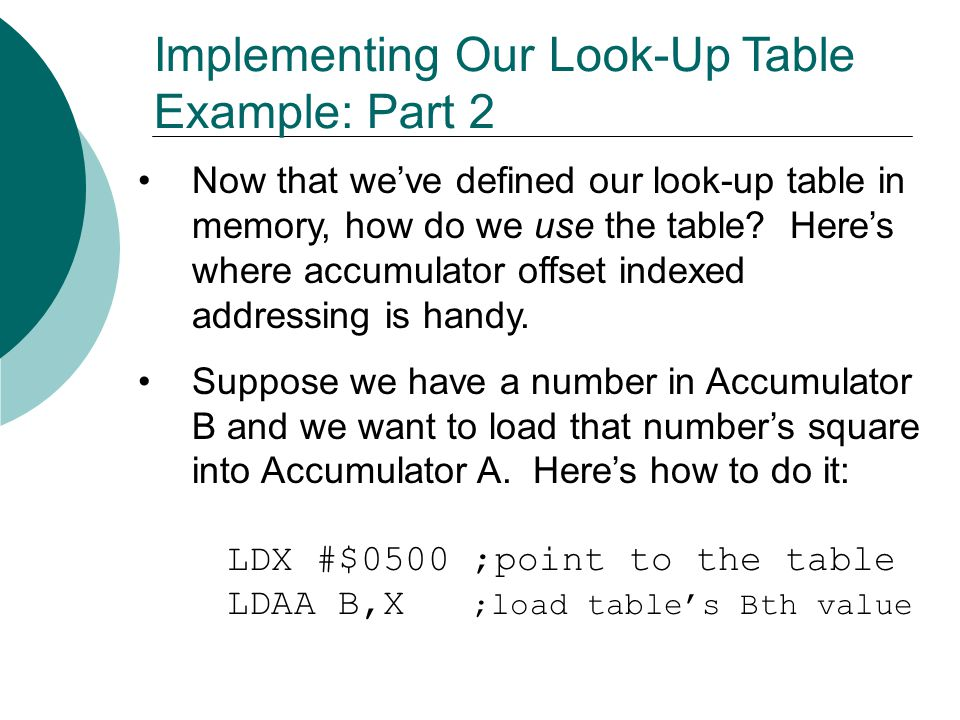 Implementing Our Look-Up Table Example: Part 2