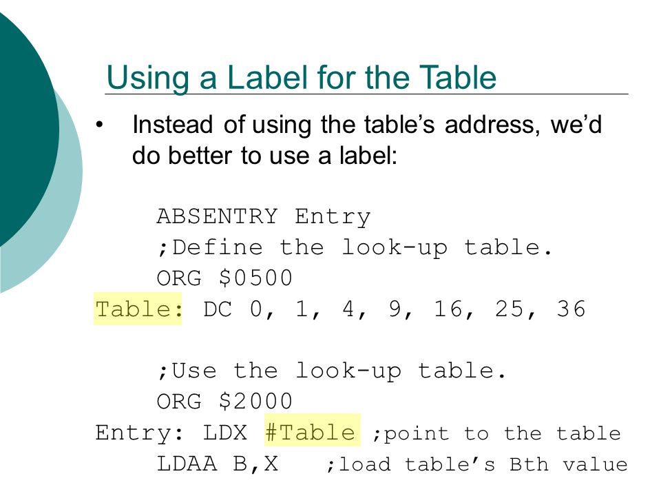 Using a Label for the Table