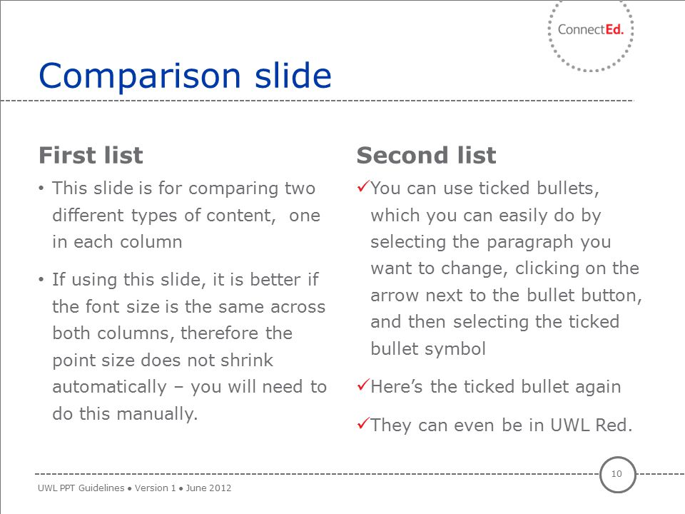 Comparison slide First list Second list