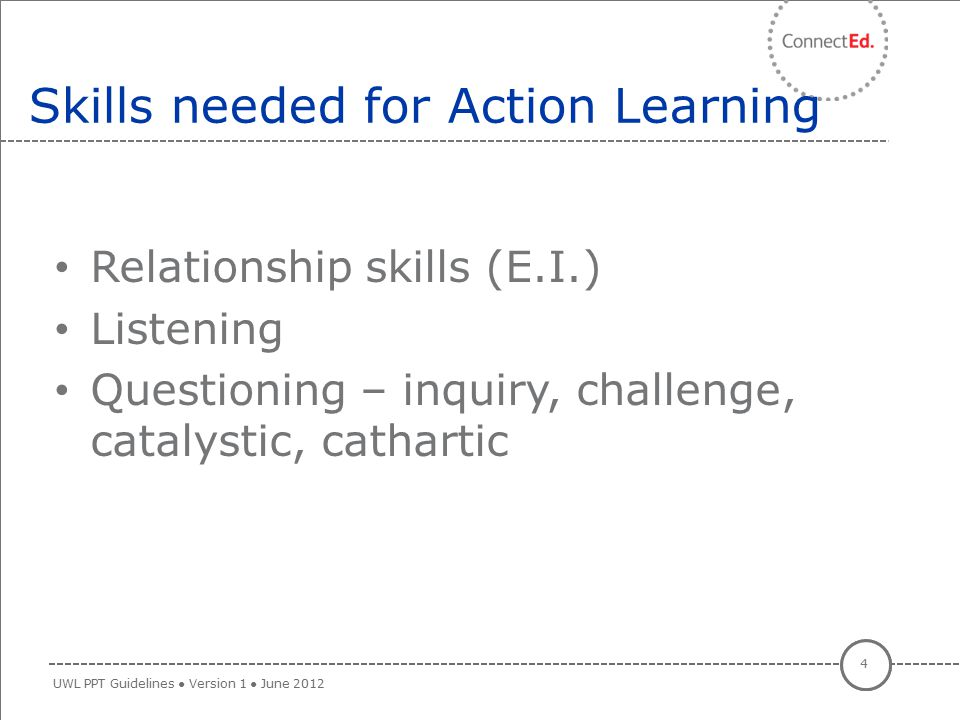 Skills needed for Action Learning
