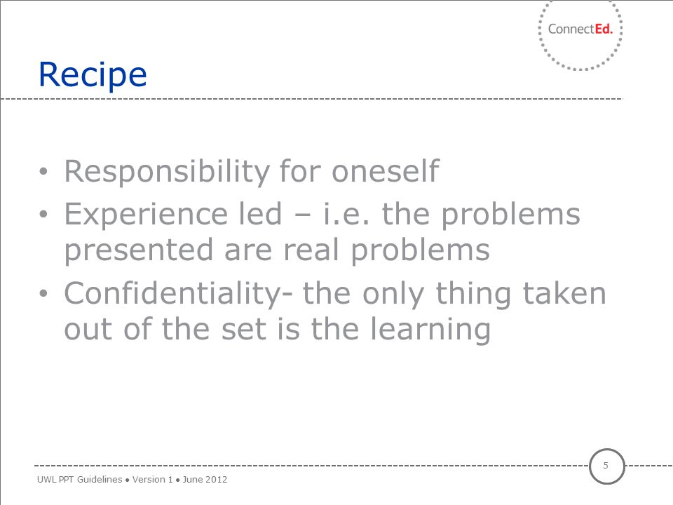 Recipe Responsibility for oneself