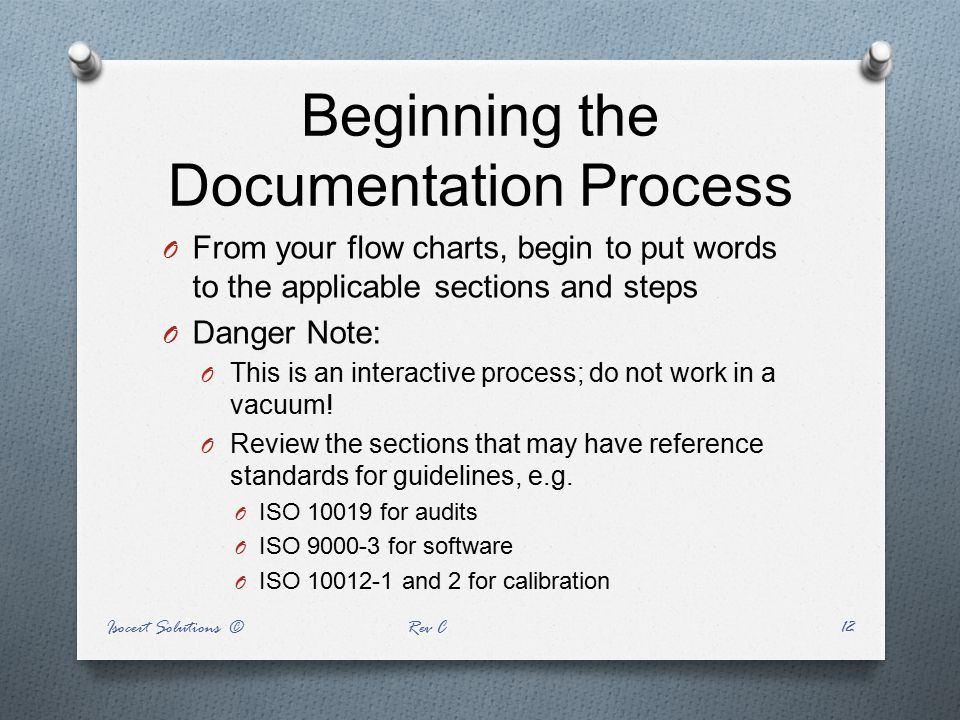 Beginning the Documentation Process