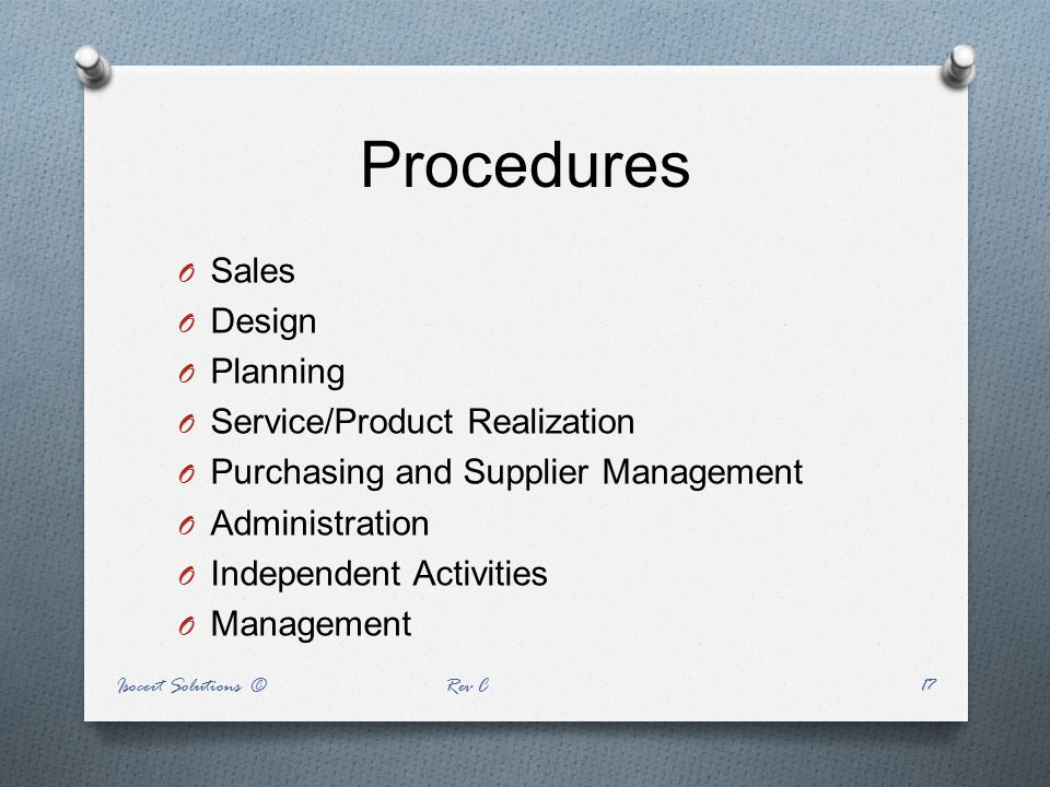 Procedures Sales Design Planning Service/Product Realization