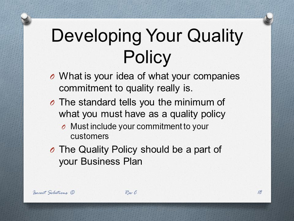 Developing Your Quality Policy