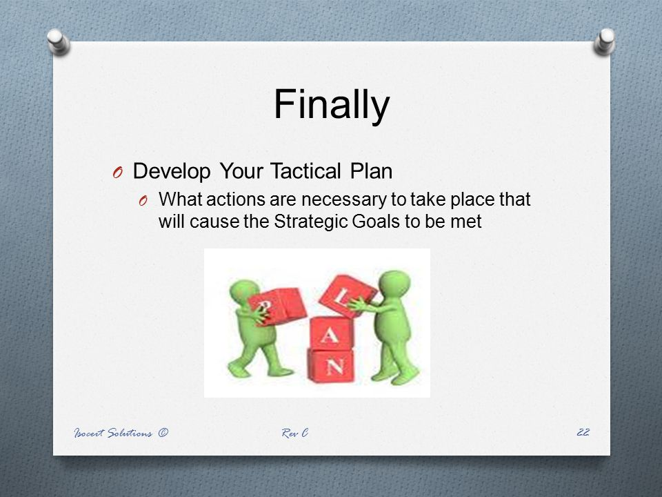 Finally Develop Your Tactical Plan