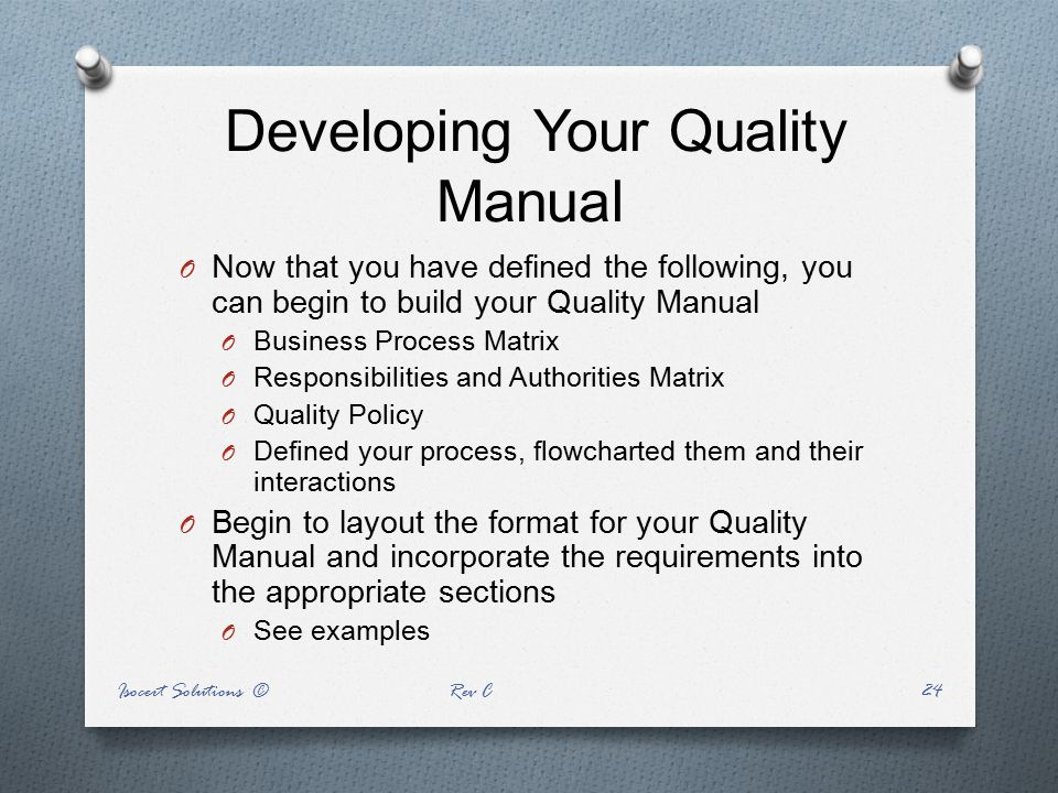 Developing Your Quality Manual