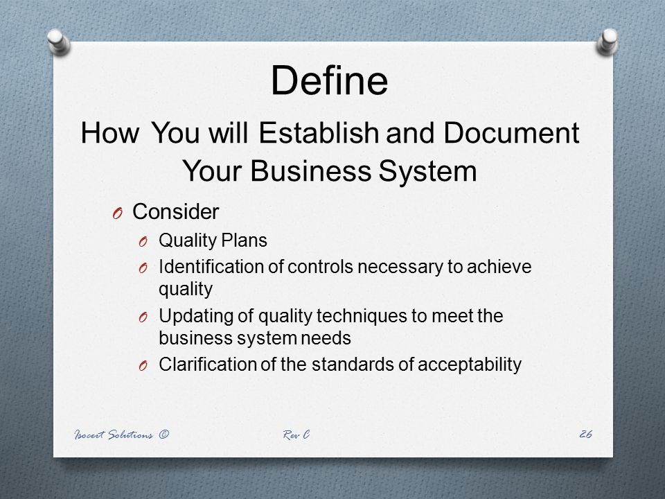 Define How You will Establish and Document Your Business System