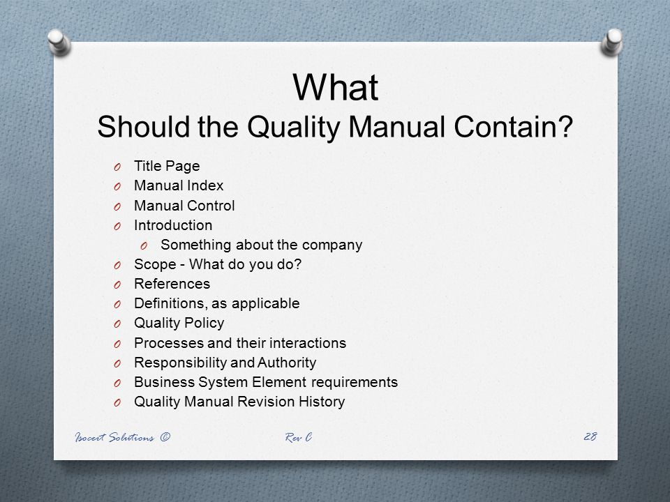 What Should the Quality Manual Contain