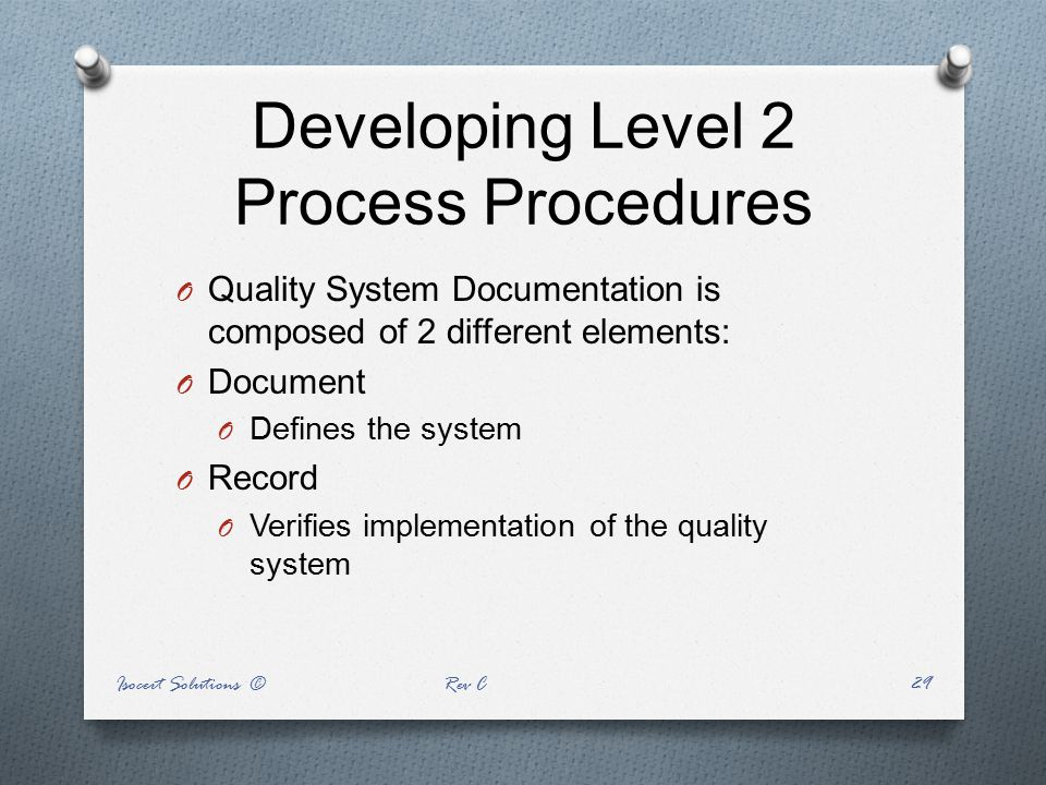 Developing Level 2 Process Procedures