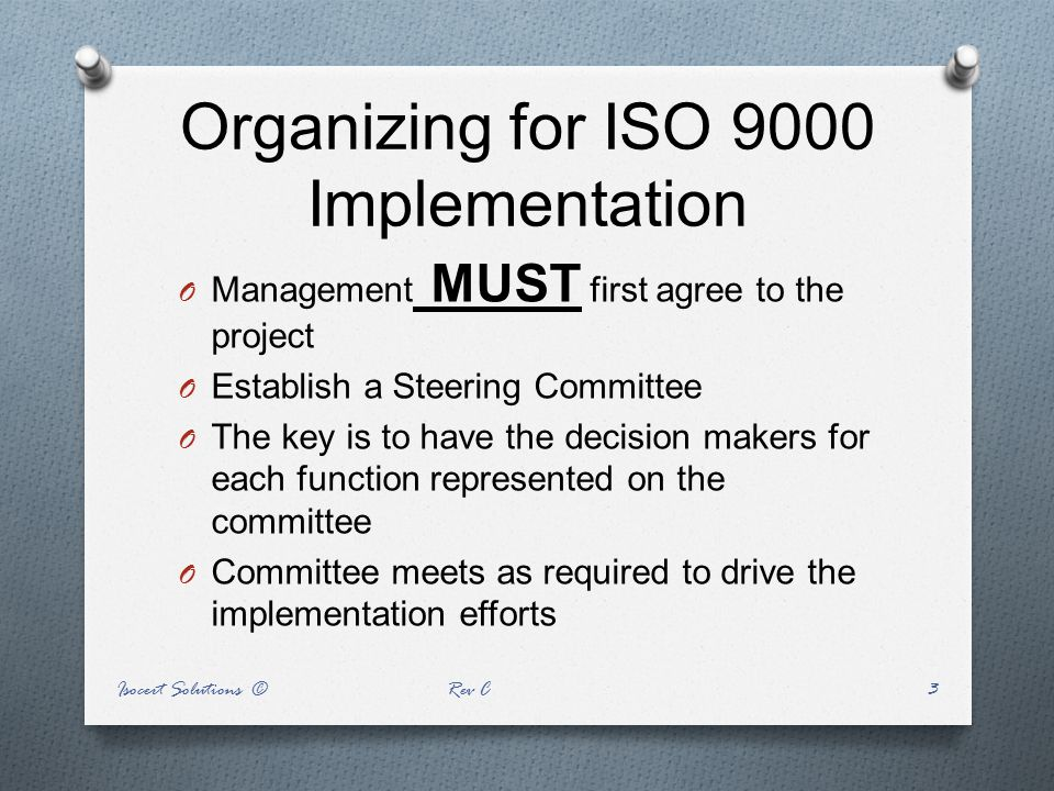 Organizing for ISO 9000 Implementation
