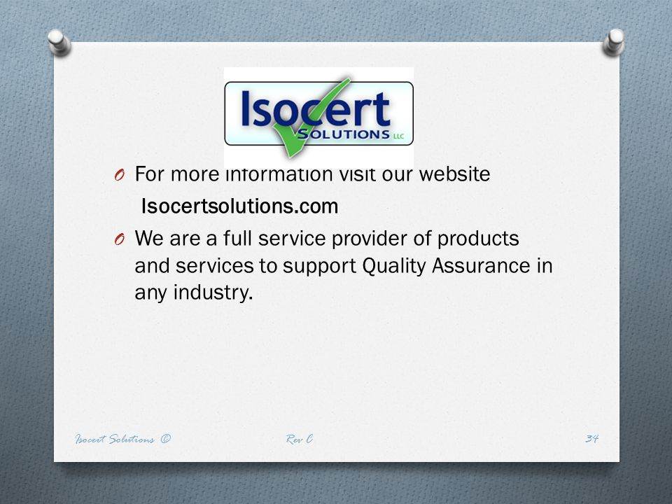 For more information visit our website Isocertsolutions.com