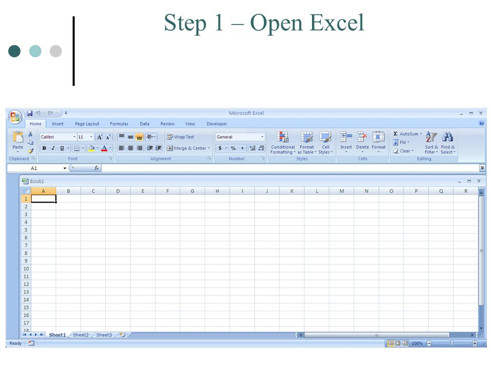 Step 1 – Open Excel