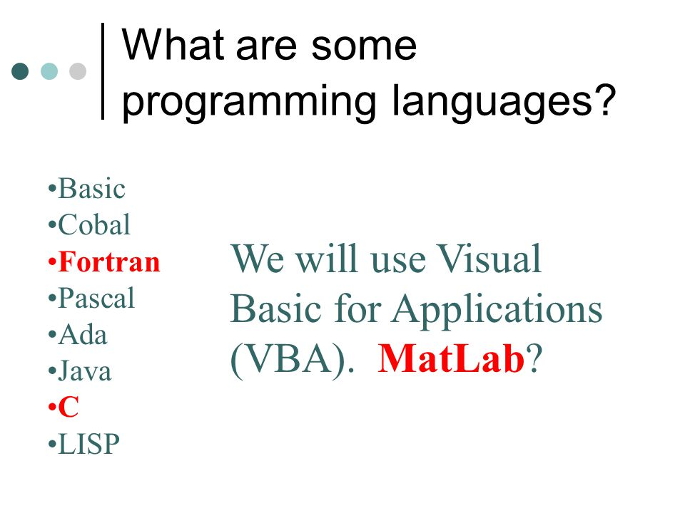 What are some programming languages
