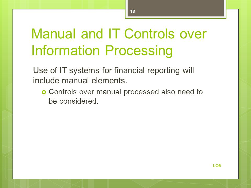 Manual and IT Controls over Information Processing
