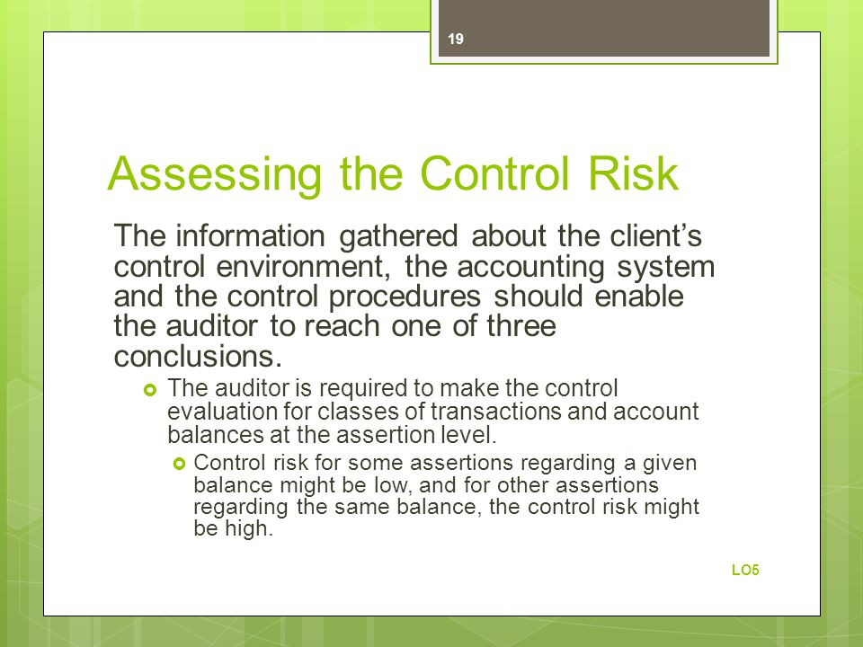 Assessing the Control Risk