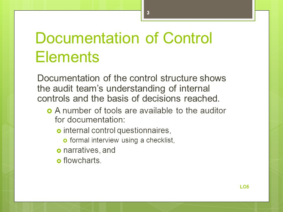 Documentation of Control Elements
