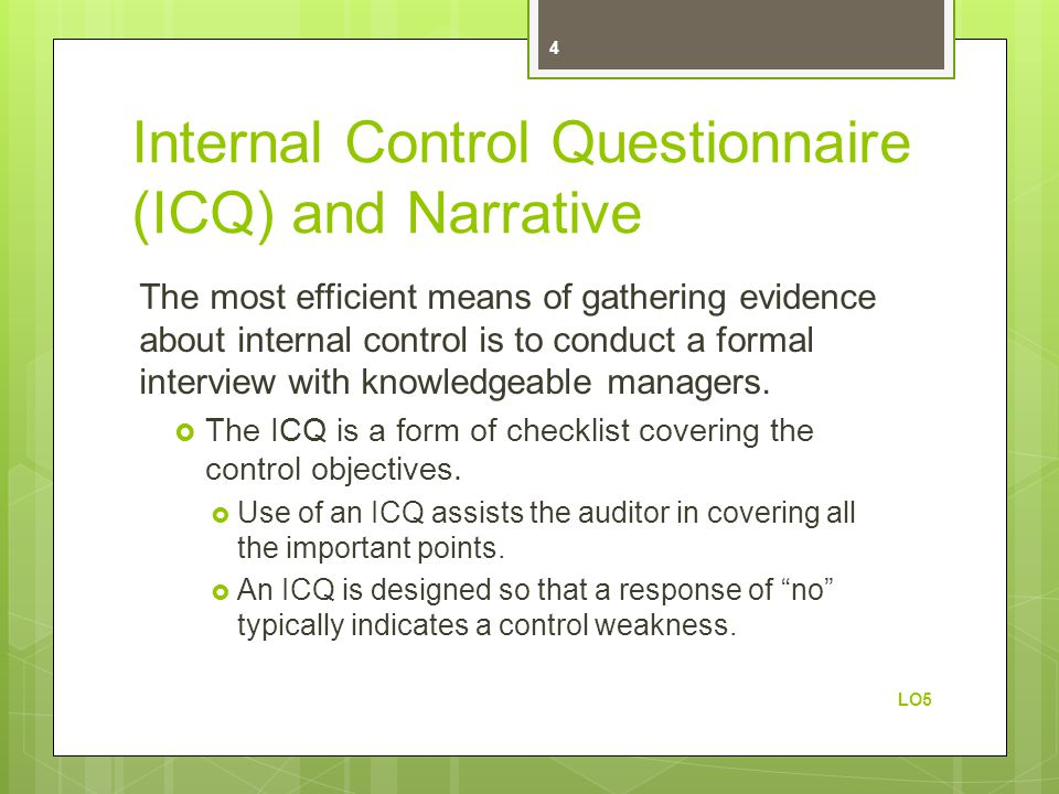 Internal Control Questionnaire (ICQ) and Narrative