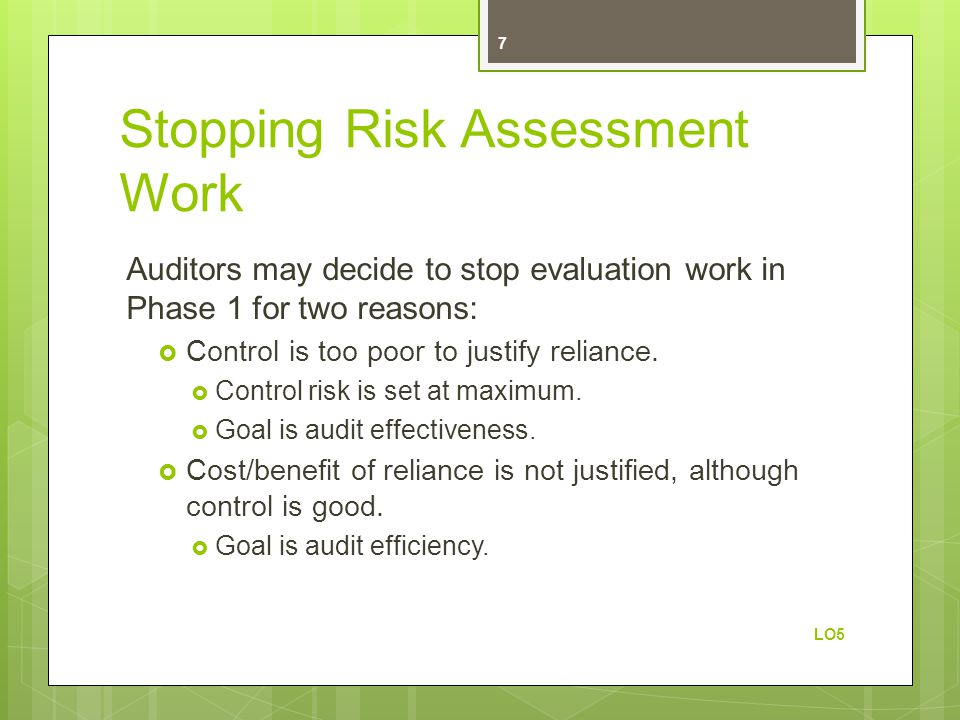Stopping Risk Assessment Work