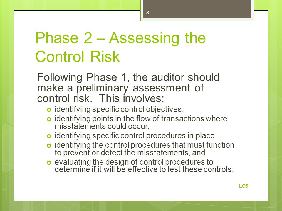 Phase 2 – Assessing the Control Risk