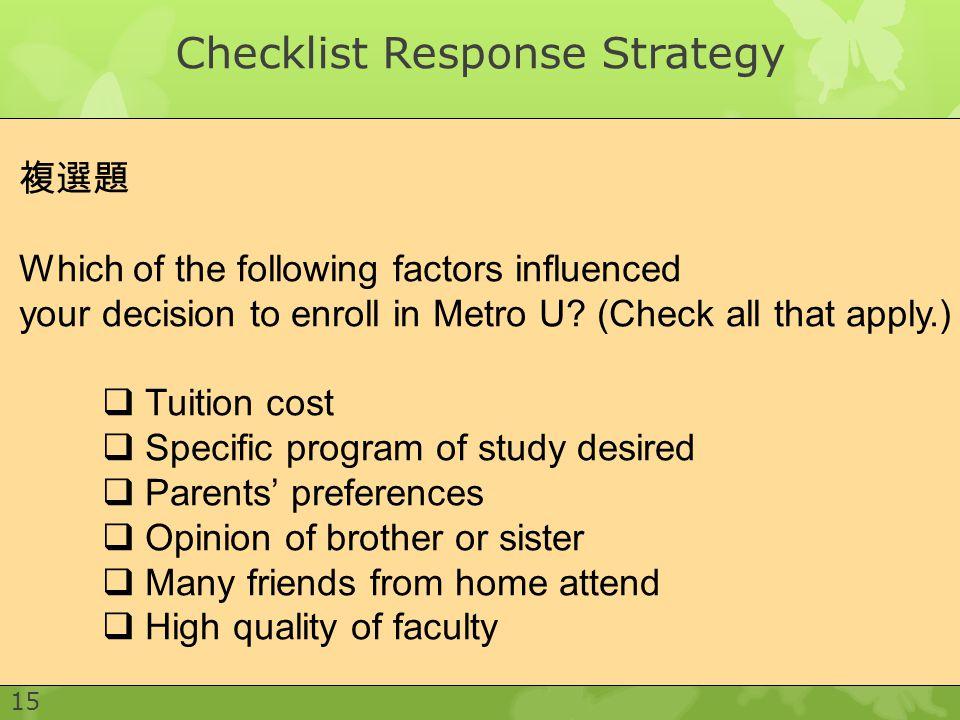 Checklist Response Strategy
