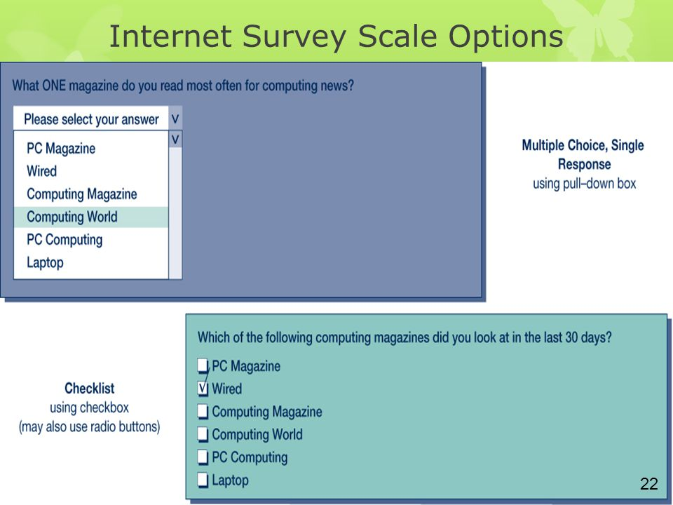Internet Survey Scale Options