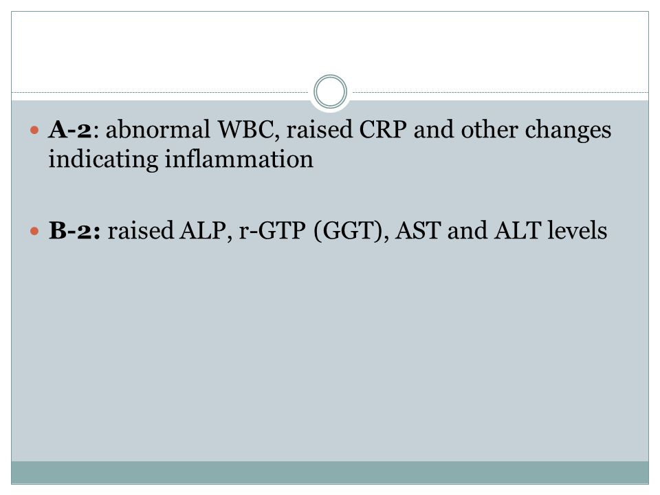 A-2: abnormal WBC, raised CRP and other changes indicating inflammation