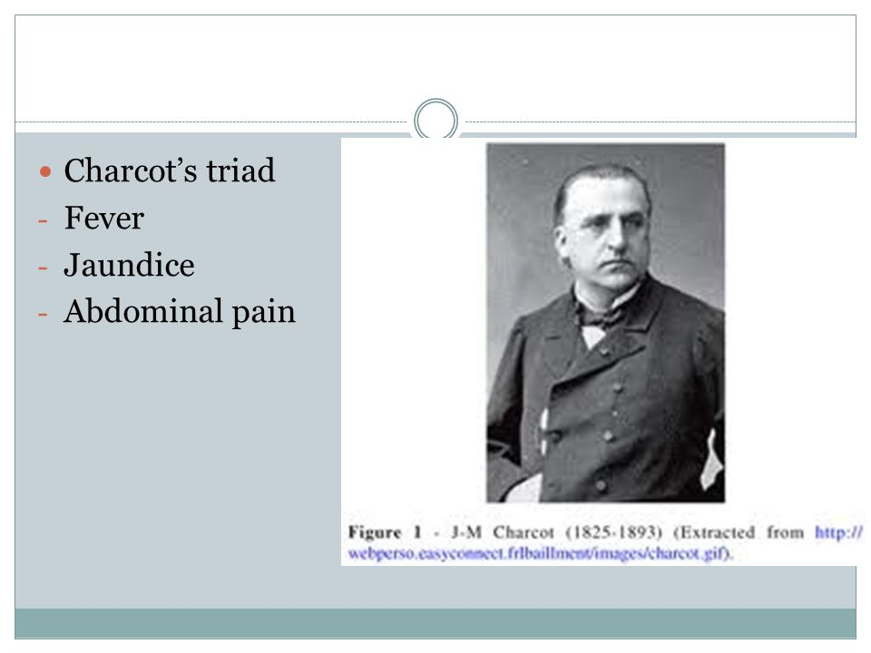 Charcot's triad Fever Jaundice Abdominal pain