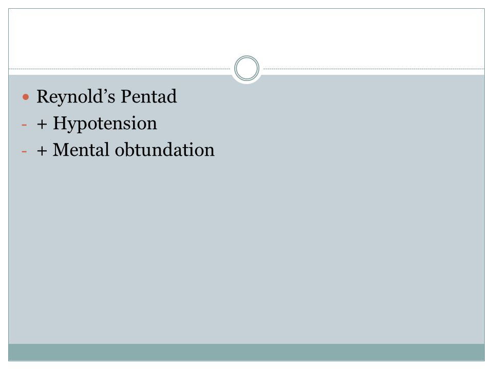 Reynold's Pentad + Hypotension + Mental obtundation