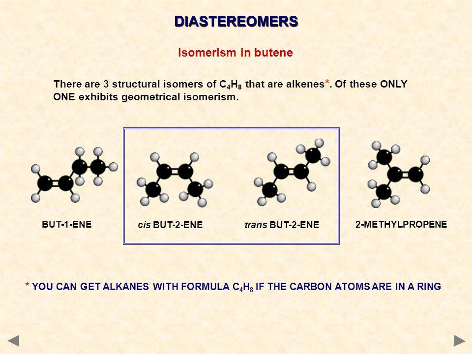 DIASTEREOMERS Isomerism in butene
