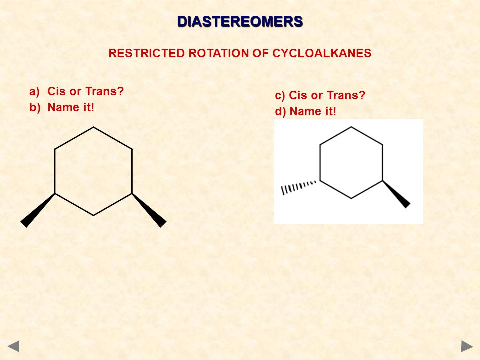 RESTRICTED ROTATION OF CYCLOALKANES