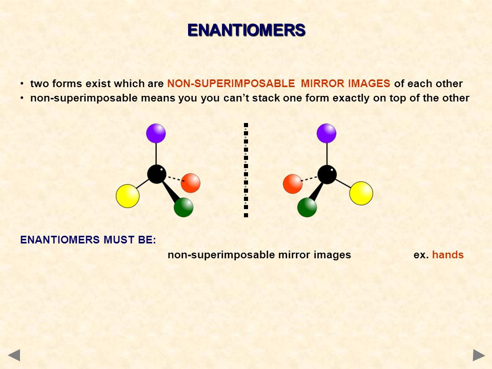 ENANTIOMERS two forms exist which are NON-SUPERIMPOSABLE MIRROR IMAGES of each other.