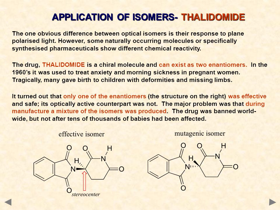 APPLICATION OF ISOMERS- THALIDOMIDE