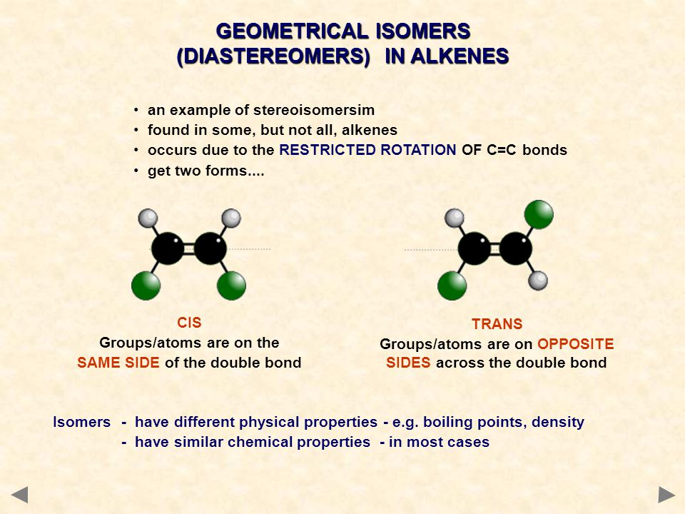 GEOMETRICAL ISOMERS (DIASTEREOMERS) IN ALKENES