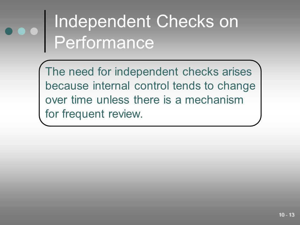 Independent Checks on Performance