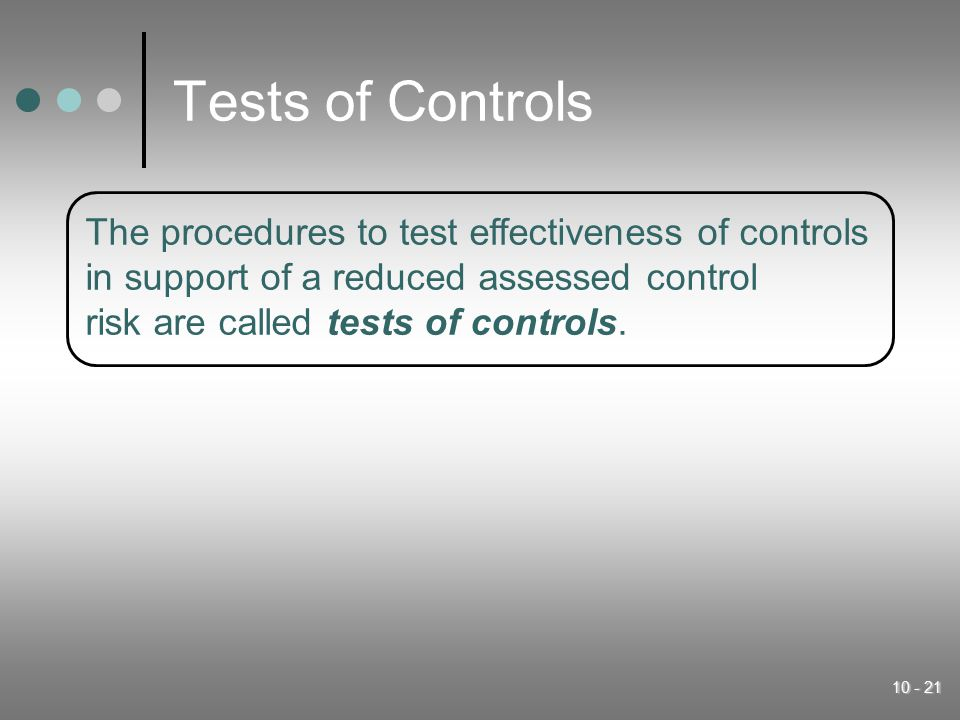 Tests of Controls The procedures to test effectiveness of controls